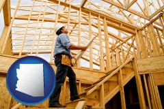 arizona map icon and a custom home builder reviewing construction plans