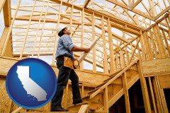 california map icon and a custom home builder reviewing construction plans