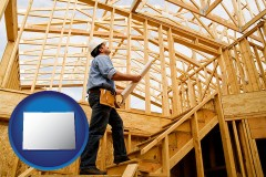 colorado map icon and a custom home builder reviewing construction plans