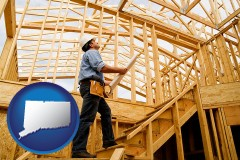 connecticut map icon and a custom home builder reviewing construction plans