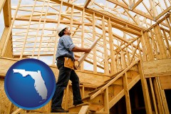florida map icon and a custom home builder reviewing construction plans