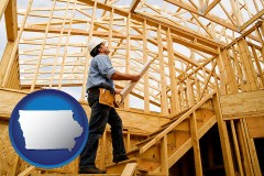iowa map icon and a custom home builder reviewing construction plans