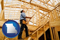 missouri map icon and a custom home builder reviewing construction plans