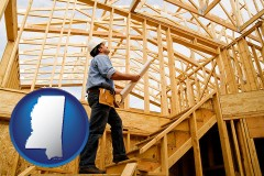 mississippi map icon and a custom home builder reviewing construction plans