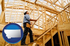 montana map icon and a custom home builder reviewing construction plans