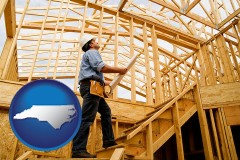 north-carolina map icon and a custom home builder reviewing construction plans
