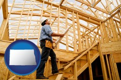 north-dakota map icon and a custom home builder reviewing construction plans