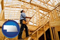 nebraska map icon and a custom home builder reviewing construction plans