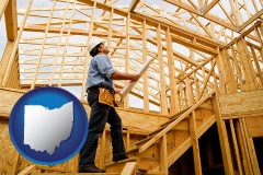 ohio map icon and a custom home builder reviewing construction plans