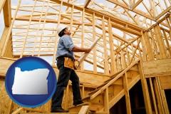 oregon map icon and a custom home builder reviewing construction plans