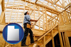 utah map icon and a custom home builder reviewing construction plans