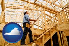 virginia map icon and a custom home builder reviewing construction plans