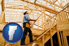 vermont map icon and a custom home builder reviewing construction plans
