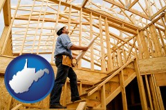 west-virginia map icon and a custom home builder reviewing construction plans